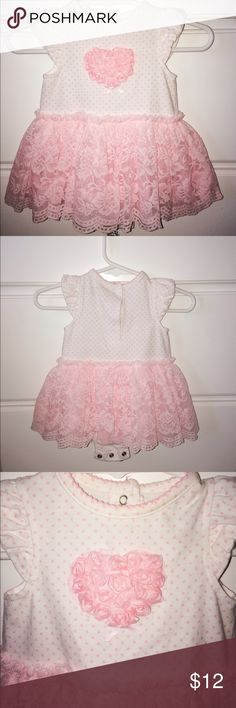 Little me dress onsie style. Pink and white. Little me baby dress. Size 3-6m. Beautiful heart design in the front. Worn once. Very cute. Little Me Dresses Casual