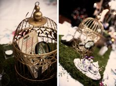 Love the bird cage with the book in it as a whimsical table decoration.