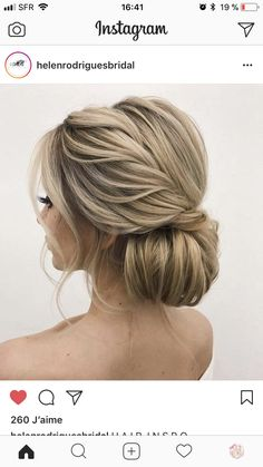 Whether a classic chignon, textured updo or a chic wedding updo with a beautiful… - Hair Styles Wedding Hair And Makeup, Hair Makeup, Low Bun Wedding Hair, Prom Hair Bun, Prom Hair Updo Elegant, Hair For Prom, Diy Bridal Hair, Bridesmaid Hair Updo Braid, Classic Wedding Hair