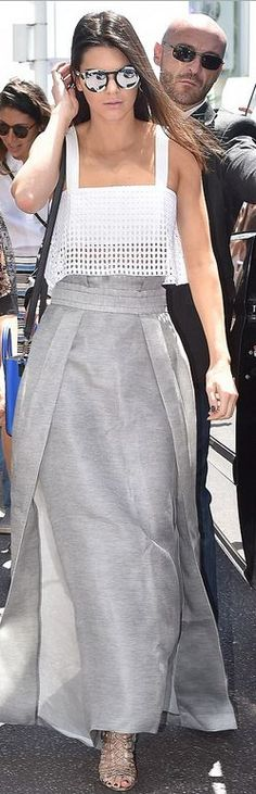 Kendall Jenner: Purse – Celine  Skirt – Sally LaPointe  Shirt – 3.1 Phillip Lim  Shoes – Sophia Webster