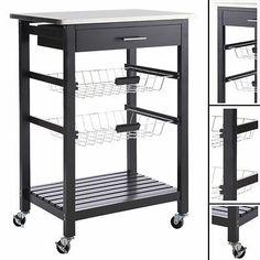 Küchenwagen COOK SCHWARZ Holz Metall Schublade Küchenschrank Teewagen Rollwagen | eBay
