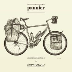 PREPARE | Cycle Touring Styles. No.3 - Expedition. Our Prepare section is there as a resource for preparing for a cycle tour something we are growing in scope and detail as we go. We have outlined (and illustrated) 4 Cycle Touring Styles: Ultralight Classic Expedition & Off-Road. How do you tour?! http://ift.tt/1LyZy64 #cycling #cycletouring #biketouring #panniercc #travel #illustration #drawing by panniercc