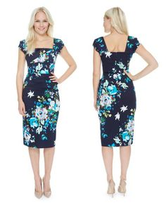 Ease yourself into Spring with our Seville Navy Cara Pencil Dress #fashion #style #print #pattern #floral #navy #SS15 #elegant #chic #theprettydress #theprettydresscompany