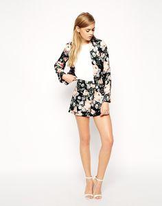 ASOS Dark Floral Printed Short and Jacket