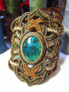 Handmade Gemstone Turquoise Chrysocolla Macrame Bracelet Wrisband. $85.00, via Etsy.