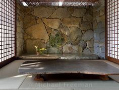 Michael Freeman Photography | The Izumi House, Takamatsu, Shikoku. A granite house with exposed steel ceiling trusses built by its owner Masatosh Izumi, stonemason, sculptor and close collaborator of sculptor and artist Isamu Noguchi. Allthe stones and boulders were hand-picked over a period of years by Izumi, collected from the Aji quarries.