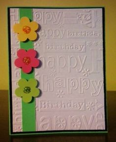 happy birthday embossing folder - with bright punched flowers  Google Search