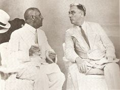 Haitian president Sténio Vincent and American president Franklin Roosevelt sipping rum punch at the Union Club in Cap-Haitien
