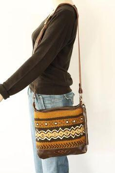Brown Mud Cloth Leather Shoulder Bag - On Model