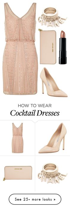 """Beaded Cocktail Dress"" by fashionbloggerwannabe on Polyvore featuring moda, Adrianna Papell, Manolo Blahnik, Michael Kors, Bare Escentuals, classy, cocktaildress, RACES y Beaded"