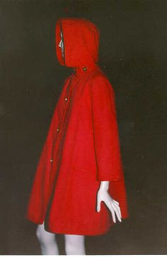 Bonnie Cashin, Little red swing coat with hood. Bonnie Cashin, Gamine Style, Swing Coats, Suede Jacket, Little Red, Sportswear, Raincoat, Dress Up, Vintage Fashion