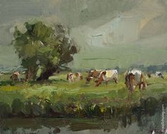 New Blog Post: https://roosschuring.com/painting-landscapes/willows-brown-cows/ Painting Brown Cows I used to paint cows a lot of times in faul weather, knowing the cows would still be beautiful, standing out with their white backs against the darker rest, but these times I preferred the real sunny days. Not because painting is more easy then: because it isn't of... View More at: https://roosschuring.com #Available, #Enpleinair, #Koeien, #PaintingCows, #Roosschuring