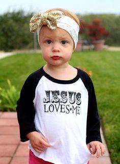 Jesus Loves Me Toddler Kids Raglan Tshirt by LoveBloomsHereshop
