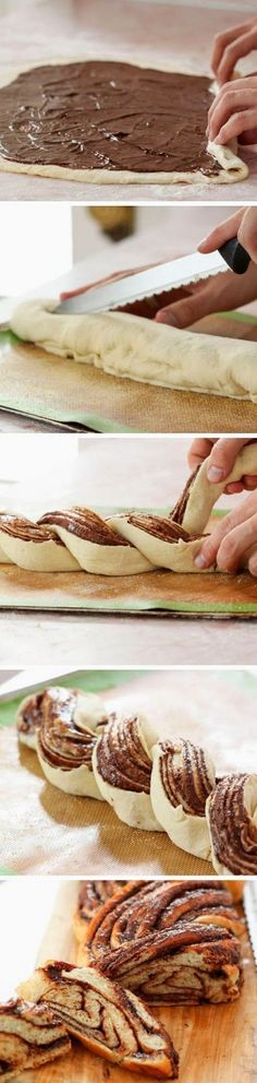 Roll dough in large oblong; spread with c nutella. roll up as in cinnamon rolls. fold over each other turning nutella cut side up. Brush with egg wash before baking toptenlook: Braided Nutella Bread Just Desserts, Delicious Desserts, Dessert Recipes, Yummy Food, Delicious Chocolate, Sweet Desserts, Nutella Chocolate, Chocolate Hazelnut, Dessert Bread