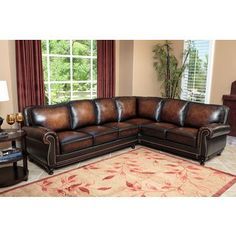 Abbyson Palermo Woodtrim Top Grain Leather Sectional Sofa