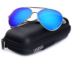6a109cc7e58 Amazon.com  LUENX Large Aviator Sunglasses Polarized for Men   Women with  Case - 400 UV Silver Lens Metal Gloss Silver Frame Mirrored 62mm  Clothing