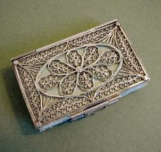 English Silver Filigree Needle Case; Circa 1815
