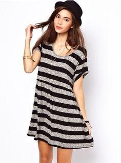 Black Grey Short Sleeve Striped Loose Dress