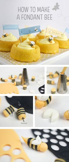 How to make a fondant bee. Cute for cupcakes or other desserts at a Mommy-to-Bee baby shower or a first bee-day party. (how to make cookies for baby shower) Fondant Bee, Fondant Cakes, Cupcake Cakes, Fondant Figures, Bee Cakes, Mommy To Bee, Bee Party, Baby Shower Cookies, Cake Decorating Tips