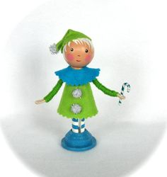 Clothespin Doll Christmas Elf by cottoncandydolls on Etsy, $30.00