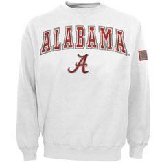 Alabama Crimson Tide White Automatic Crew Sweatshirt