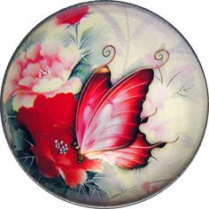 "Beautiful Crystal Dome Button Colorful Butterfly &Wild Rose LgSize 1 & 3/8"" B 42"