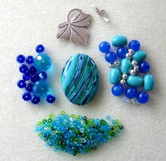 Calsilica Turquoise Jade Czech Glass Pewter beads findings kit for jewerly
