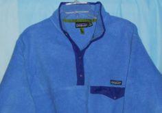 PATAGONIA Women/Men Sz L Large Fleece Pullover Snap Blue Thick/Warm L/S-Vintage?