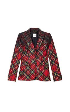 Tartan Plaid Jacket With Paint Drip Effect by Moschino - Moda Operandi