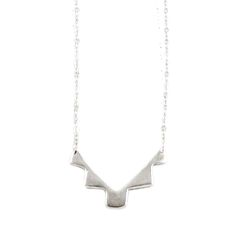 "This necklace was made by Navajo artist Neeko April and features an abstract mountain design in sterling silver.This necklace is part of Neeko's ""In Beauty, In Honor"" collection, . Mountain Designs, Minimal Jewelry, Native American Fashion, Boutique, Sterling Silver, Abstract, My Style, Navajo, Accessories"