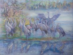 WILD BIRDS, Wildlife painting, ORIGINAL Art, Pastel drawing, Hand drawn, Living room  decorative art, Lake, forest, birds, Animal Wall decor