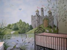"princess painted murals | Enchanted Princess Castle"" Hand-Painted Wall Mural"