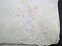 Vintage Hankie Floral Embroidery