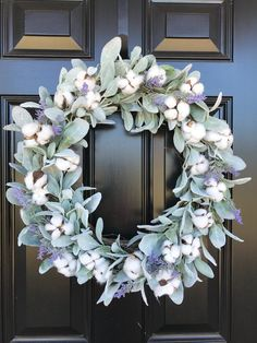"""Terrific Photographs Farmhouse Front Door fixer upper Strategies Interior designers often reference art as """"the jewelry of the property,"""" but when it comes to en Front Door Design, Front Door Colors, Front Door Decor, Wreaths For Front Door, Door Wreaths, Lavender Wreath, Hydrangea Wreath, Exterior Color Palette, Best Front Doors"""