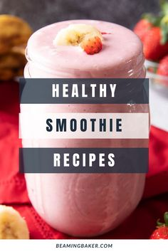 Good 'n Healthy Smoothie Recipes!: we've gathered all of our favorite healthy smoothie recipes all in one place: from banana smoothies to strawberry smoothies 'n more. Check out deliciously good smoothie recipes! #Smoothie #Smoothies #Recipe #Healthy | Recipes at BeamingBaker.com Best Healthy Smoothie Recipe, Berry Smoothie Recipe, Good Healthy Recipes, Delicious Vegan Recipes, Healthy Snacks, Tasty, Strawberry Smoothies, Banana Smoothies, Pumpkin Pie Smoothie