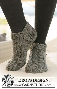 """Free pattern: Short socks with cables in """"Alaska"""" pattern by DROPS design:"""