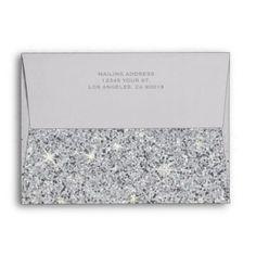Modern Sparkling Silver Glitter Wedding Envelope