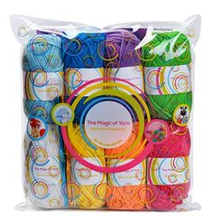 Premium Yarn Pack - 8 Acrylic Rainbow Color Yarn Skeins - Excellent for Small and Kids Yarn Projects, Crafts, Knitting, Crochet and Much More - 5 FREE Gifts with Each Pack - Resealable Bag, 2016 Amazon Most Gifted Yarn  #ArtandCraftSupply