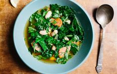 Kale and White Bean Soup - Bon Appétit.  You can prepare this without the meat for a vegetarian version.  Sprinkle cheese on top instead.