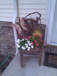 Flowers in a chair planter