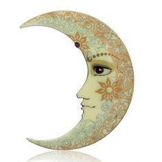 Women Vintage Retro Printing Flower Moon Brooch Pin Wedding Jewelry Gift New #Unbranded