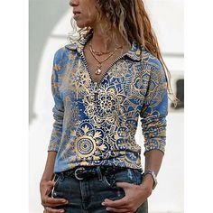 Camisa Floral, Tie Dye Long Sleeve, Long Sleeve Shirts, Blusas Oversized, Camisa Vintage, Bleu Violet, Blouses For Women, T Shirts For Women, Mode Top