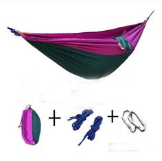 Yosoo Ultralight Hammock Travel Camping Outdoor Nylon Fabric Hammock Parachute Bed for Double Two Person with Free Ropes Purple  Dark Green * Learn more by visiting the image link.Note:It is affiliate link to Amazon.