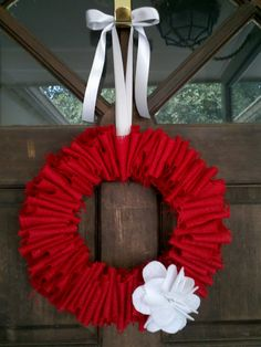burlap wreath. for a valentines day twist i may try to shape the hanger into a heart