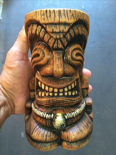 "Custom""Bruddah Opihi"" Tiki Mug Jungle Brown Glaze  With A Custom Opihi"