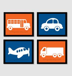 Planes Trains and Automobiles Silhouette Wall Art Print Set of