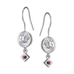 White Light Collection; Sterling Silver Sparkling CZ Eurowire Earrings