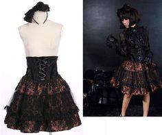 RQ-BL Dracula SET Rock + Schleife Gothic Lolita Steampunk Skirt Bow 21113 Coffee