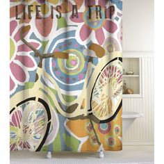 This taffeta fabric shower curtain features a classic retro bicycle and colorful oversized florals highlighted with the words 'LIFE IS A TRIP.' This easy-care fabric curtain is designed for use with any standard shower curtain rod.