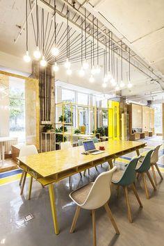 creative area, interior design, office, space, espacio de trabajo, oficina, color amarillo yellow